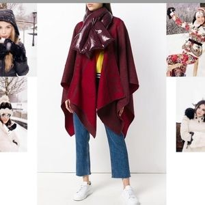 MONCLER Burgundy Unisex Mantella Cape with Scarf